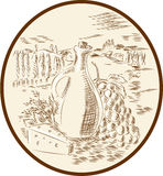 Olive Oil Jar Cheese Tuscan Countryside Etching Stock Photo