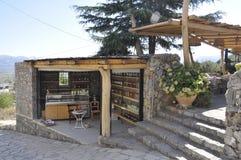 Cave of Zeus Way Olive Oil Kiosk in Crete island of Greece. Olive oil kiosk on the Way of Cave of Zeus in Crete island of Greece on August 2017 stock photo