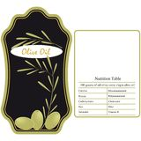 Olive Oil / Label. Label for the olive oil with nutritional table Royalty Free Stock Images