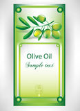 Olive oil label. With olive branch Stock Photography