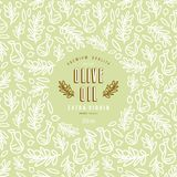 Olive oil label and frame with pattern. Design elements in thin line style. Print on green background Royalty Free Stock Photography