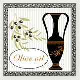 Olive oil a label in the Greek antique style . On the image presented Olive oil a label in the Greek antique style Royalty Free Stock Photos
