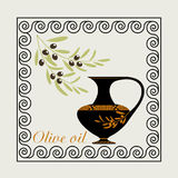 Olive oil a label in the Greek antique style. Royalty Free Stock Photo