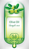 Olive oil label with olives. And drop Royalty Free Stock Photo