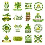 Olive Oil Label Set naturale organica Fotografia Stock