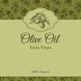 Olive oil label template with graphic olive branch Stock Images