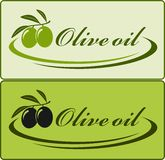 Olive oil label. Two olive oil label with decorative lines Royalty Free Stock Photo