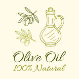 Olive Oil Label. Vector  Hand Drawn Illustration Royalty Free Stock Photos