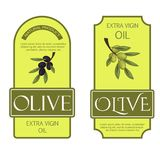 Olive oil labels vector illustration green organic food templates for fresh olive oil vegetarian packaging sticker. Natural leaf vegetable branch product tag Royalty Free Stock Image