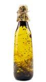 Olive Oil met Rosemary, Saffraan en Koriander Stock Foto