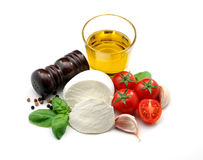 Olive oil, mozzarella, tomatoes, basil and garlic. Typical italian food ingredients isolated over white Royalty Free Stock Image
