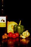 Olive Oil och sunt äta Arkivbild