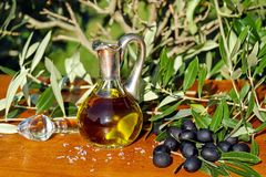 Olive Oil, Oil, Food, Carafe Stock Photo