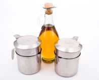 Olive oil and oilcans. Olive oil and two oilcans stock image