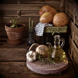 Olive oil in a old country kitchen Royalty Free Stock Images
