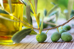 Olive oil on old wooden table Royalty Free Stock Photography