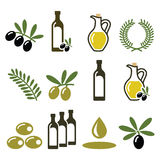 Olive oil, olive branch icons set Stock Images
