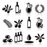 Olive oil, olive branch icons set Stock Photography