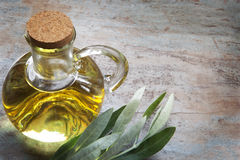 Olive Oil and Olive Leaves on Rustic Timber Stock Photo