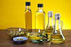 Olive oil, olive tree and olives Royalty Free Stock Photos