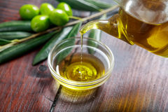 Olive oil and olive twig Royalty Free Stock Photo