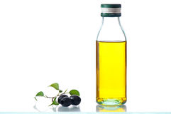Olive oil with olives Stock Photo