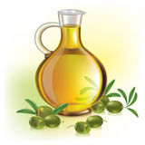 Olive oil and olives. Contains transparent objects. EPS10 Royalty Free Stock Photography