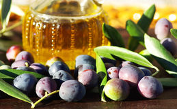 Olive oil and  olives. Royalty Free Stock Photos