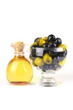 Olive oil and olives Stock Photos