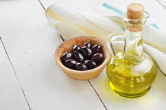 Olive oil and olives Stock Photography