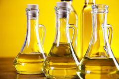 Olive oil and olives bottles Royalty Free Stock Photo