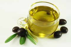 Olive oil, olives and branch Royalty Free Stock Photo