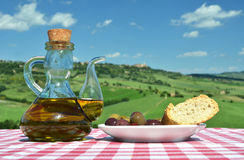 Olive oil, olives and bread Royalty Free Stock Photography