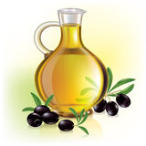 Olive oil and olives. Contains transparent objects. EPS10 Stock Photo