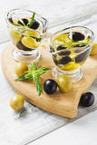 Olive oil. With olives in a glass on the table.selective focus. health and diet Stock Photos
