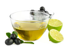 Olive oil,olives and lime Stock Images