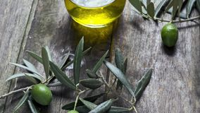 Olive oil and olives stock video