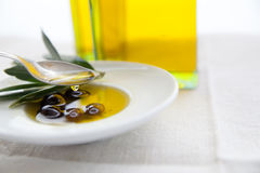Olive oil and olives on the table Stock Image