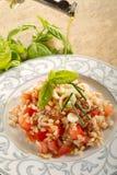 Olive oil over spelt salad Stock Images