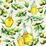 Olive oil pattern. Watercolor. Background Royalty Free Stock Photos