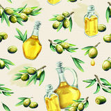 Olive oil pattern. Watercolor royalty free illustration