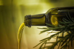 Olive oil pouring. From a bottle Royalty Free Stock Photography