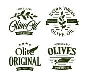 Olive oil premium quality. Olives branch vintage label collection. Extra virgin emblem set. Healthy products retro green. Vector logo template. Organic royalty free illustration