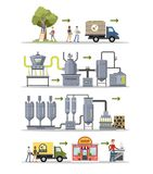 Olive oil production. Olive oil production set. From trees to bottles stock illustration