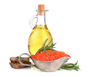 Olive oil and red caviar Stock Images