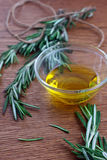 Olive oil and rosemary. Extra vigrin olive oil and fresh rosemary Royalty Free Stock Images
