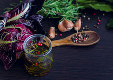 Olive oil with rosemary, garlic and pepper Royalty Free Stock Photography