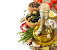 Olive oil with rosemary and spices Stock Images