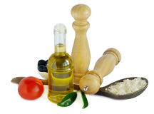 Olive oil,salt and pepper Royalty Free Stock Photography