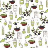 Olive Oil Seamless Pattern disegnata a mano Fotografie Stock
